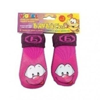 БАРБОСки носки д/собак, высокое латексное покрытие, фиолетовые с принтом, размер - 2