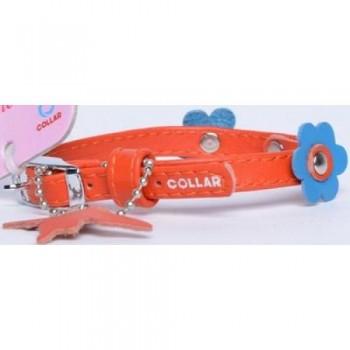 CoLLaR Glamour Ошейник кожаный, двойной прошитый с украшением аппликация, 19-25см*9мм, оранжевый (34994)