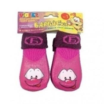 БАРБОСки носки д/собак, высокое латексное покрытие, фиолетовые с принтом, размер - 1