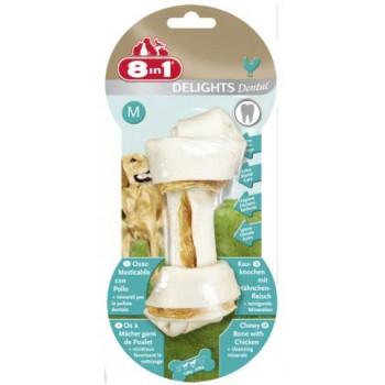8in1 Dental Delights M косточка с куриным мясом для средних и крупных собак с минералами 14,5 см