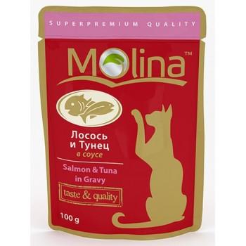 Molina / Молина пауч д/кошек Лосось и тунец в соусе, 100г