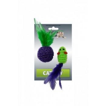 """Papillon / Папиллон Игрушка для кошек """"Мышка и мячик с перьями"""" 5+4см, двуцветные"""