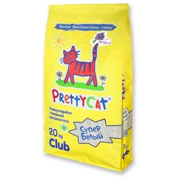 """PrettyCat Наполнитель комкующийся для кошачьих туалетов """"Cупер белый"""" с ароматом лаванды 20 кг"""