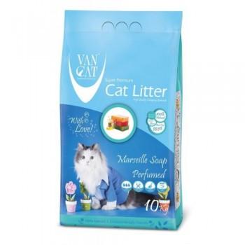 Van Cat Комкующийся Наполнитель без пыли с ароматом Марсельского мыла, пакет (Marsilla Soap) 10 кг