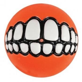 Rogz / Рогз Мяч с принтом зубы и отверстием для лакомств GRINZ большой, оранжевый (GRINZ BALL LARGE)