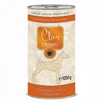 Clan / Клан CLASSIC конс. для собак, Кусочки в соусе с говядиной и курицей и овощами, 1,25 кг