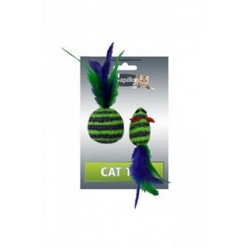 """Papillon / Папиллон Игрушка для кошек """"Мышка и мячик с перьями"""" 5+4см пушистые в полоску"""