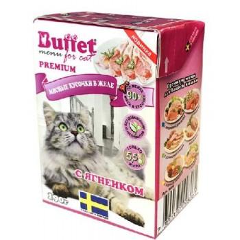 Buffet Мясные кусочки в желе для кошек с ягненком (Tetra Pak 190г)