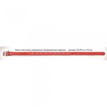 Аркон Ошейник кожаный 14, размер 22-29 см x 14 мм, цвет красный, о14кр, один слой кожи, украшения, декоративная строчка (35683)