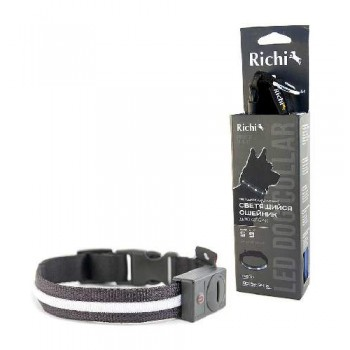Richi / Ричи 17570/1514 Ошейник LED светящийся 32-34см (S) чёрный, 3 режима, 2xCR2025 в компл.