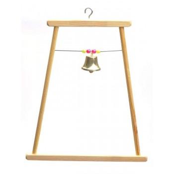 Yami-Yami / Ями-Ями Качели для попугая деревянная большая с бусами и колокольчиком (8543)