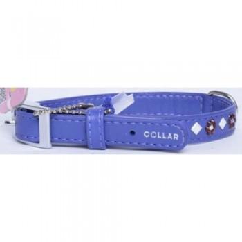 """CoLLaR Glamour Ошейник кожаный, двойной прошитый с клеевыми стразами """"цветочек"""" и """"ромб"""", 27-36см*15мм, фиолетовый (32849)"""
