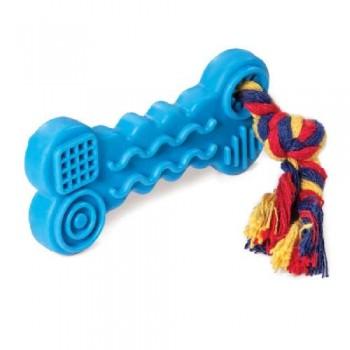 """Triol / Триол Игрушка для собак из ц/литой резины """"Косточка с веревкой"""", 95/165мм"""