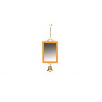 Beeztees 010205 Зеркало прямоугольное с колокольчиком, пластик 12*6см