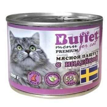 Buffet Мясной паштет для кошек с индейкой (ж/б 200г)