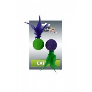 """Papillon / Папиллон Игрушка для кошек """"Два мячика с перьями"""" 2х4см"""