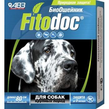 АВЗ ФИТОДОК ошейник для крупных собак репеллентный био от блох до 3 месяцев и клещей до 5 недель на основе эфирных масел, 80 см