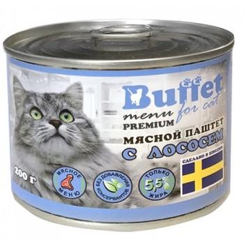 Buffet Мясной паштет для кошек с лососем (ж/б 200г)
