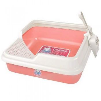 Туалет Catidea 44х44х14,5 см квадратный, низкий борт, совок, розовый