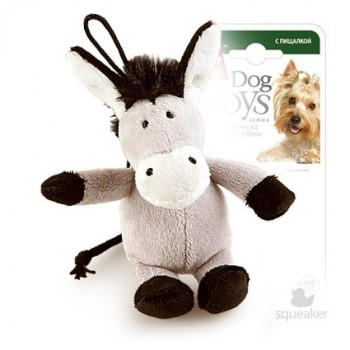 GiGwi / ГиГви Игрушка для собак Ослик с пищалкой 10 см, серия PLUSH FRIENDZ