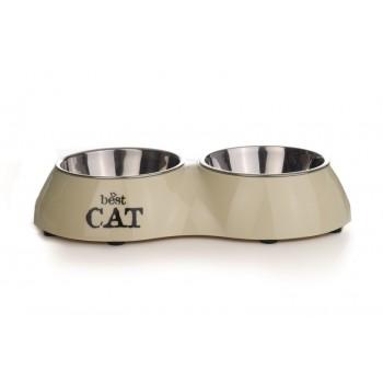 Beeztees / Бизтис 650404 Best Cat Миска 2в1 д/кошек двойная бежевая 160мл*26,5*15см