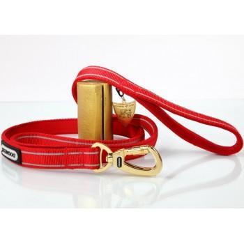 """Dogness / Догнесс Поводок для собаки """"Стронг лайн"""", разм.M (2см х152см) красный (светоотр., плоск.карабин, подвеска)"""