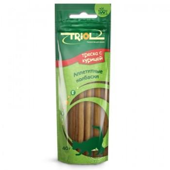 Triol / Триол Аппетитные колбаски из курицы с треской для кошек, 40г