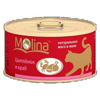 Molina / Молина Консервы д/кошек Цыпленок с крабами, 80г