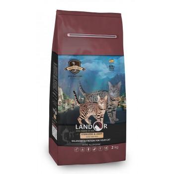 Landor / Ландор сухой корм для кошек с избыточным весом и стерилизованных утка с рисом 2 кг