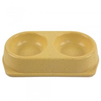 Bobo / Бобо Миска двойная, 25x14x4.5 см, 180+180 мл, желтый