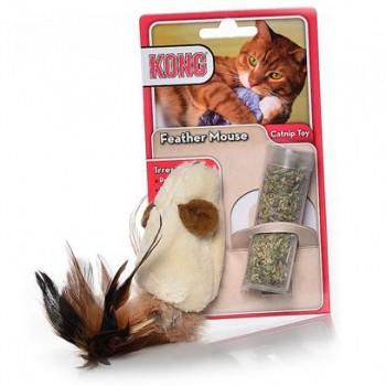 """Kong / Конг игрушка для кошек """"Мышь полевка с перьями"""" плюш с тубом кошачьей мяты"""