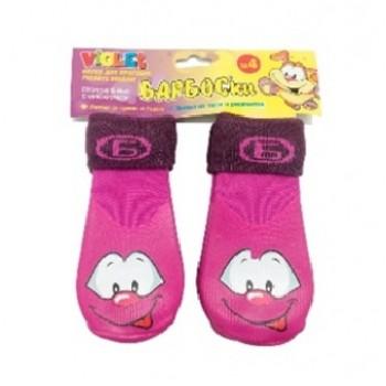 БАРБОСки носки д/собак, высокое латексное покрытие, фиолетовые с принтом, размер - 4