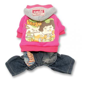 """Katsu / Катсу Комбинезон """"Беби Дог"""" (куртка+джинсы) с капюшоном, тепл.трикотаж, разм S (26х40х21см) розовый"""