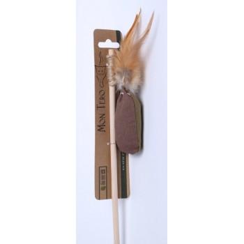 """Mon Tero / Мон Теро ЭКО удочка-Дразнилка игрушка для кошек """"Мешочек"""", 42/4 см, с перьями с кошач. мятой"""