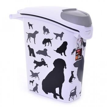 """Curver PetLife / Курвер ПетЛайф Контейнер для корма """"Собаки"""", черно-белый, на 10кг/23л, 23*50*50см"""