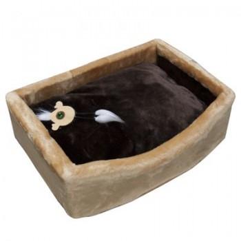Зооник Лежанка д/кошек с подушкой, мех одн.(570*410*170мм) бежевый