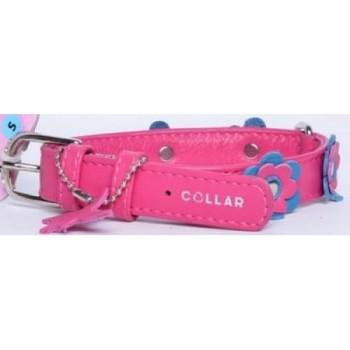 CoLLaR Glamour Ошейник кожаный, двойной прошитый с украшением аппликация, 30-39см*20мм, розовый (35027)