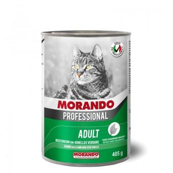 Morando / Морандо Professional консервированный корм для кошек кусочки с ягенком и овощами, 405г, жб