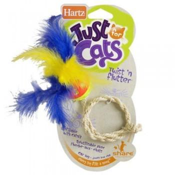 Hartz / Хартц Игрушка д/кошек - Шарик с перышком на веревочке, мягкая JFC Twist N,Flutter cat toy