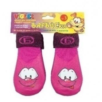 БАРБОСки носки д/собак, высокое латексное покрытие, фиолетовые с принтом, размер - 3