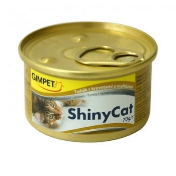 Gimpet / Гимпет Консервы Shiny Cat с тунцом, креветками и солодом д/кошек, 70г