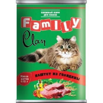 Clan / Клан Family консервы д/кошек паштет из Говядины, 0,415 кг
