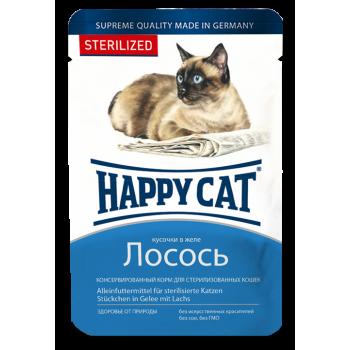 Happy Cat / Хэппи Кэт Паучи для стерилизованных кошек /лосось кусочки/ в желе, 0,1 кг