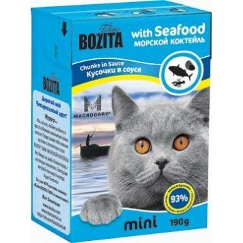 Bozita / Бозита MINI 2103 кон.д/кошек кусочки в соусе Морской коктейль 190г
