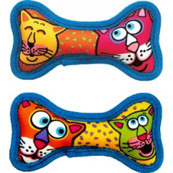 Fat Cat Игрушка д/собак - Косточка с пищалкой, очень прочная, маленькая, мягкая, (2 шт на блистере),, Minis Squeaker Bones Dog Toy, 2 pk (630050)