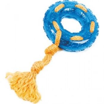 """Игрушка """"Грызлик Ам"""" Кольцо с веревкой Durable Rope Silent Размер 24 см, Цвет Голубой, Материал TPR, канат"""