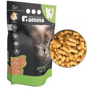 Gamma / Гамма Наполнитель для кошачьих туалетов Gamma 5л, древесный впитывающий, мелкие гранулы