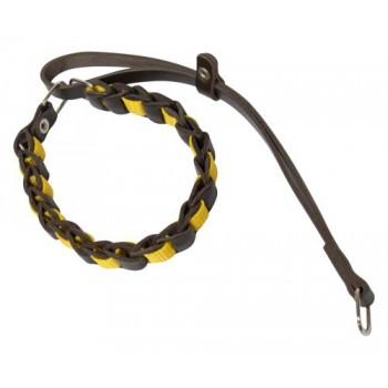 Зооник Ошейник- удавкакожаный плетеный со стропой , 34-40см х 20мм ,