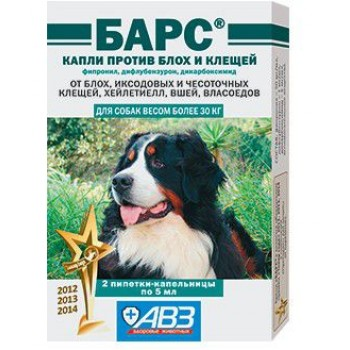 БАРС Капли против блох и клещей для собак более 30 кг, 2 дозы по 5 мл (фипронил, дифлубензурон, дикарбоксимид)