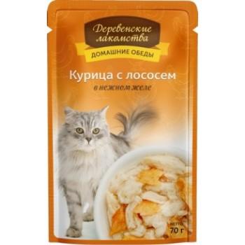 Деревенские лакомства «Курица с лососем в нежном желе», 70 гр